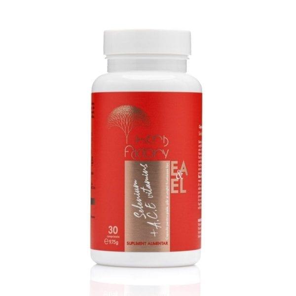 Selenium 200mcg + ACE vitamins - capsula pentru piele, par si unghii frumoase foc cutie